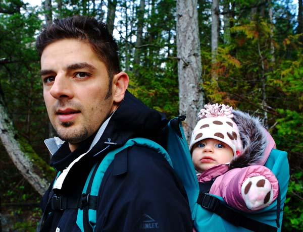 Adrian taking Jessica on a hike in the woods