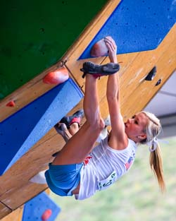 Vail, CO - June 03: Sierra Blair-Coyle of USA competing in the Semi Finals of the IFSC Bouldering World Cup at the 2012 Teva Summer games in Vail, CO.